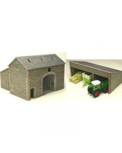 METCALFE PO251 OO/HO Manor Farm Barn & Tractor Shed