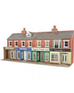 METCALFE PO272 00/H0 Low Relief Red Brick Shop Fronts